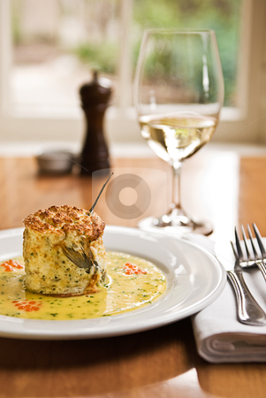 Souffle stock photo, A beautiful fish souffle served in a restaurant. by thisboy