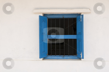 Blue Window stock photo, an old blue window and white wall in an Indian Village by Arvind Balaraman