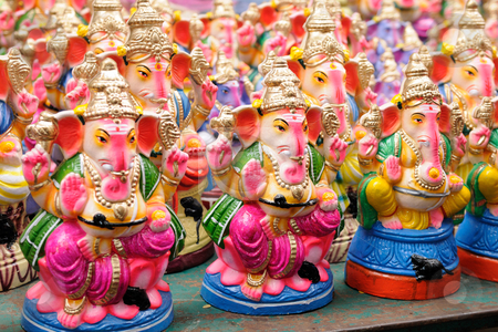 Ganesha stock photo, Ganesha dolls made of clay, hand painted at a local market by Arvind Balaraman