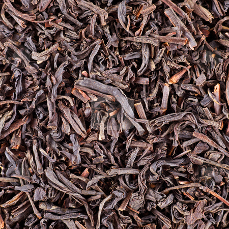 Dry black tea leaves stock photo, Structure generated by dry black tea leaves by Alexey Romanov