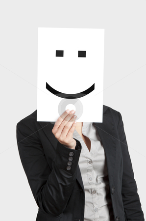 Happy Face stock photo, Woman showing a blank paper with a smile in front of her face by ikostudio