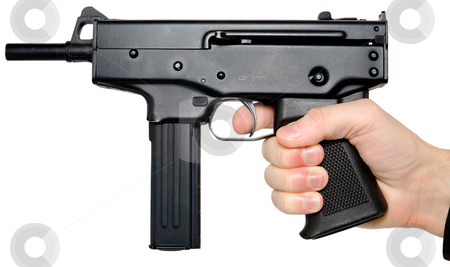 Hand holding the big pistol stock photo, Man's hand holding the big automatic pistol by Alexey Romanov