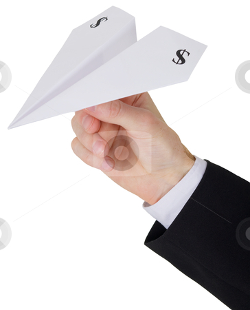 Paper airplane stock photo, Plane built from paper with sign of the dollar on wing in hand by Alexey Romanov