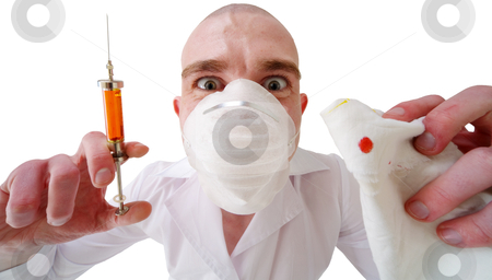 Man and syringe stock photo, The man in doctor's smock with a syringe in a hand on the white background by Alexey Romanov