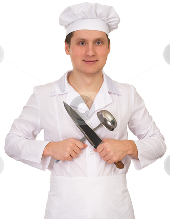 Cook with the knife and the ladle stock photo, Cook in white overallon with the knife and the ladle on a white background by Alexey Romanov