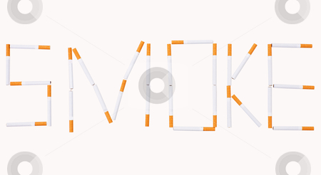 Cigarettes stock photo, The word take out of cigarettes on the white background by Alexey Romanov