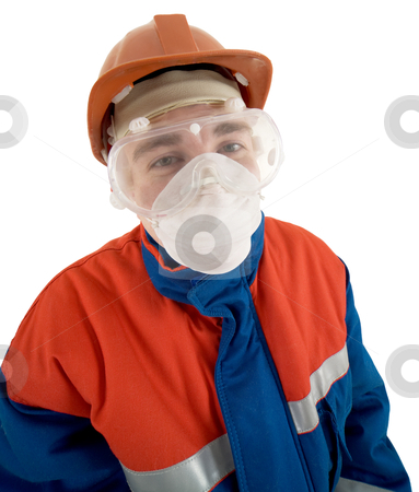 Builder stock photo, The man in working clothes, a protective mask and a respirator by Alexey Romanov