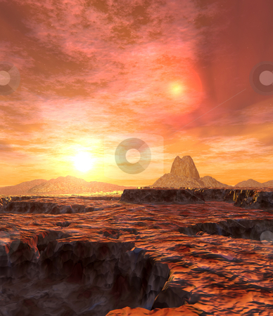 Dual Sun of Kaito stock photo, Digital created scifi scenery  by Michael Osterrieder