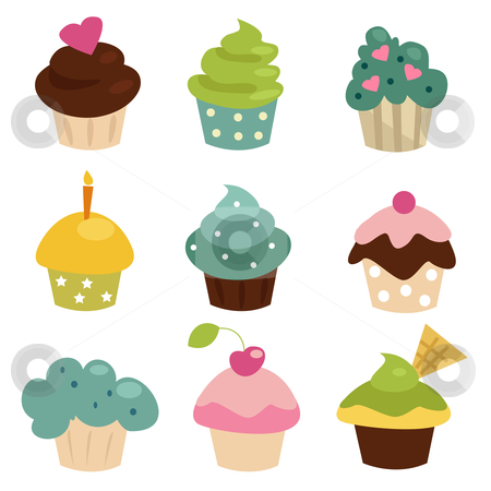 Colorful cupcake set  stock photo, Colorful cupcake set , vector illustration by kariiika
