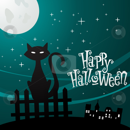 illustration of a cat in the moonlight  stock photo, Vector illustration of a cat in the moonlight  by kariiika