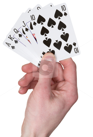 Playing card on hand stock photo, Playing card on hand on the white background by Alexey Romanov