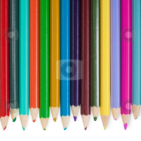 Fourteen color pencils on white background stock photo, Fourteen children's color pencils on a white background by Alexey Romanov