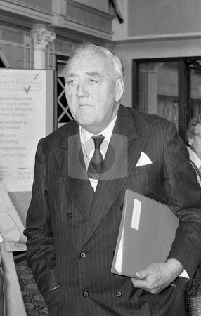 Rt.Hon. Lord William Whitelaw stock photo, Lord William Whitelaw, Conservative peer and former Deputy Prime Minister of Britain, attends the party conference at Blackpool, Lancashire on October 10, 1989. He died in July 1999. by newsfocus1