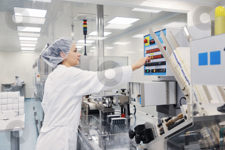 Medical factory and production indoor stock photo, medical pills industry  factory and production indoor by Benis Arapovic