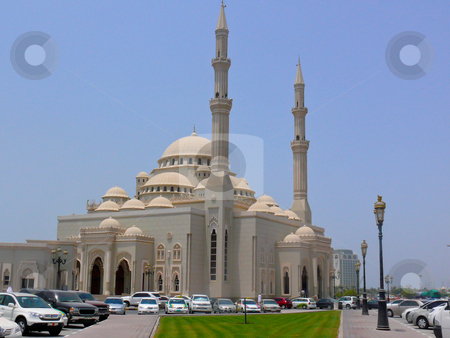 Jumeirah Mosque, Dubai, UAE stock photo, The famous mosque sits along the coastline of Dubai and is open to muslim and non-muslim visitors. by liverbird