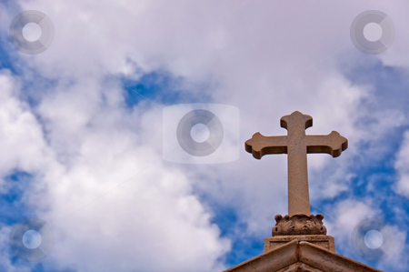 La Recoleta Cross stock photo, A cross adorns the top of a mausoleum in La Recoleta Cemetery, Buenos Aires,Argentina by liverbird