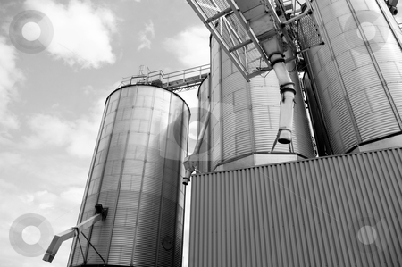 Steel tanks in agriculture storage industry stock photo, commercial containers used in storage of wheat and grain in agriculture by JOSEPH S.L. TAN MATT