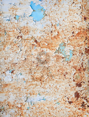 Weathered surface of a steel sheet with paint scraps stock photo, The rusty weathered surface of a steel sheet with paint scraps by Alexey Romanov