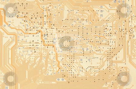 Electronic background stock photo, The abstract electronic technological computer golden background by Alexey Romanov