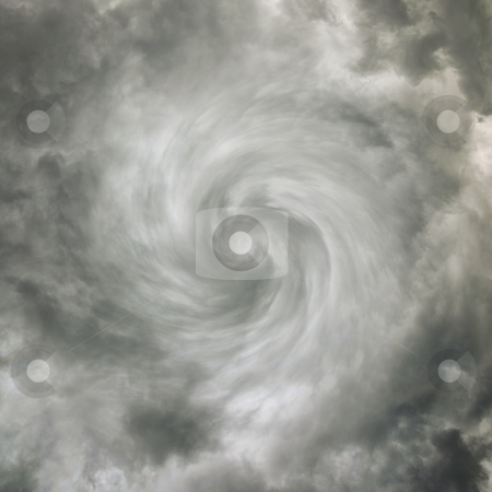 Twisting spiral sky with storm clouds stock photo, Twisting spiral dark sky with storm clouds by Alexey Romanov