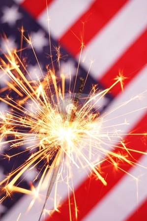 Fourth of july stock photo, fourth of july concept with sparkler and usa flag by Gunnar Pippel