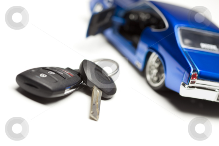 Car Key and Sports Car stock photo, Car Key and Sports Car Under Spot Light. by Andy Dean