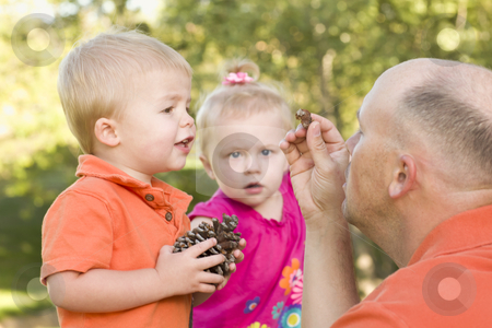 Cute Twin Children Talk with Dad in Park stock photo, Cute Twin Children Talk with Dad about Pine Cones in The Park. by Andy Dean