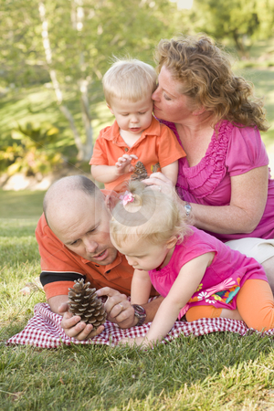 Young Family Talking about Pine Cones in Park stock photo, Young Family Talking about Pine Cones in the Park on a Summer Day. by Andy Dean