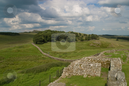 Hadrain's Wall stock photo, The remains of a fortress along Hadrain's Wall on the England/Scotland border. by SidWebb