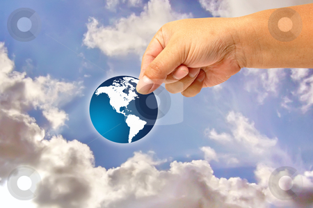 Hand and icon world stock photo, Hand and icon world by phanlop88