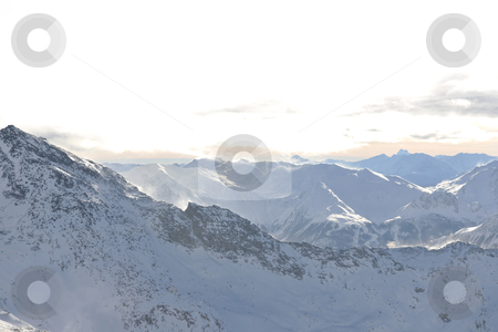 Mountain snow sunset stock photo, mountain snow fresh sunset at ski resort in france val thorens  by Benis Arapovic
