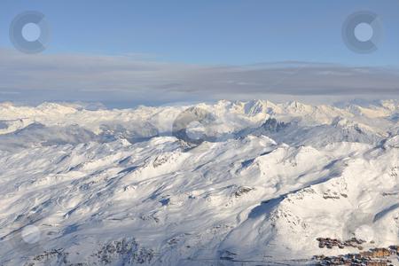 Mountain snow sunset stock photo, mountain snow fresh sunset at ski resort in france val thorens  by Benis Arapovic