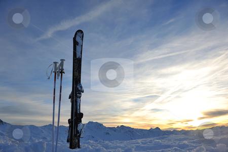 Mountain snow ski sunset stock photo, mountain snow ski with beautiful sunset in background by Benis Arapovic