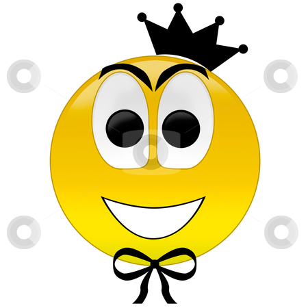 Happy smiley with crown tie stock photo, 3d rendering happy smiley with crown and bow tie by olinchuk
