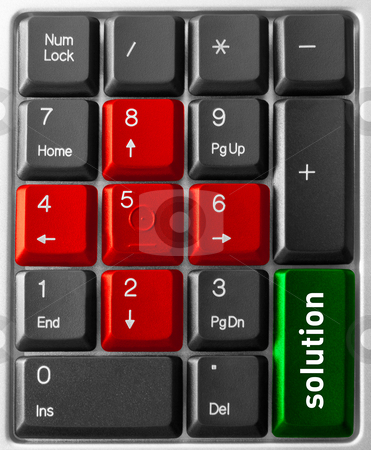 """Computer keyboard concept stock photo, Close-up of Computer keyboard,  with  """"Solution"""" key by olinchuk"""