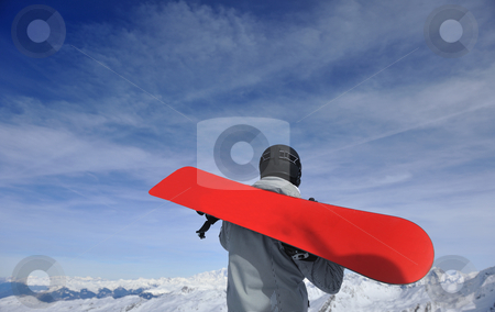 Man winter snow ski stock photo, happy young man have fan while relaxing at snow with ski and snowboard sport at winter season by Benis Arapovic