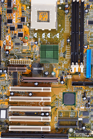 Computer old motherboard close up stock photo, The computer old motherboard photographed close up by Alexey Romanov