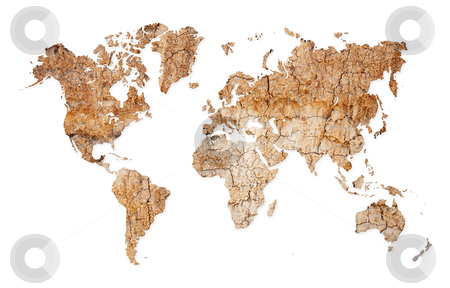 I Need A Map Of The World.World Map Continents From Dry Deserted Soil Stock Photo