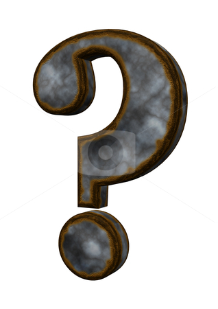 Rusty question mark stock photo, rusty question mark on white background - 3d illustration by J?