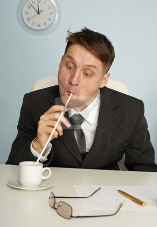 Comic man drinking coffee with long straws stock photo, Comic man is drinking coffee with long straws in office by Alexey Romanov