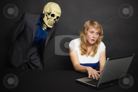 Woman experiences horror of what he saw on Internet stock photo, A young woman experiences the horror of what he saw on the Internet by Alexey Romanov