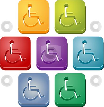 Handicap symbol button set stock photo, Handicap symbol button icon colored illustration set by Kheng Guan Toh