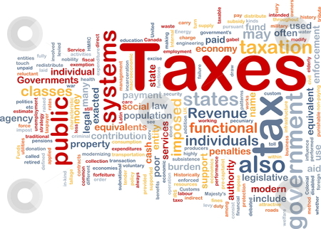 Taxes is bone background concept stock photo, Background concept wordcloud illustration of taxes by Kheng Guan Toh