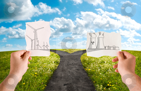 Choose the energetic sources stock photo, Choose the alternative energy source, wind power or nuclear by Giordano Aita