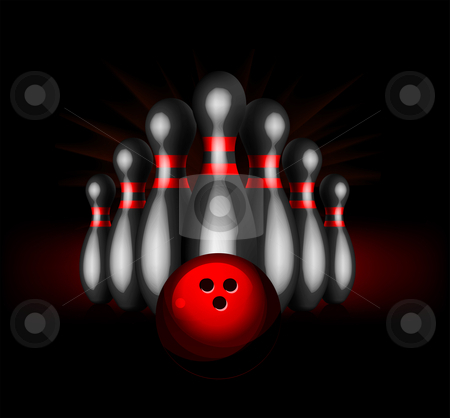 Bowling vector illustration stock photo, Bowling vector illustration isolated on black background by sermax55