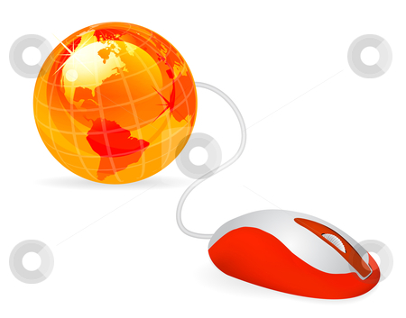 Modern computer mouse  stock photo, modern orange computer mouse connected to a orange globe on white by sermax55
