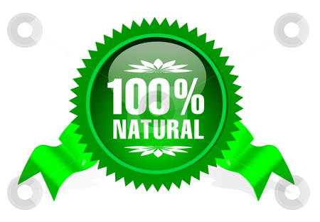 Label for natural products stock photo, label with ribbon for natural products by sermax55
