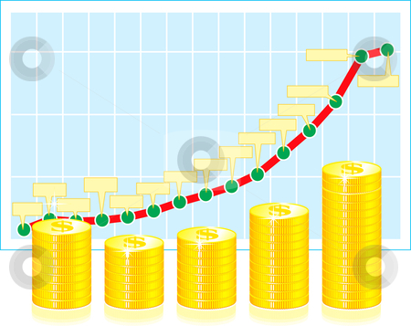 Financial graph with coins stock photo, Financial graph with coins on white by sermax55