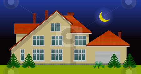 New family house in the night stock photo, New family house in the night. See day version in my portfolio by sermax55