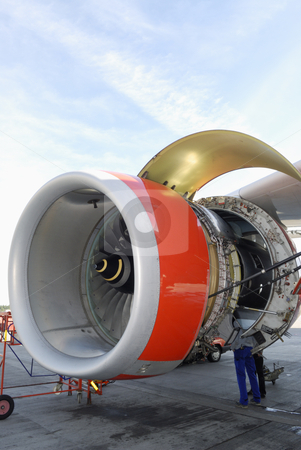 Mechanic and jet engine stock photo, mechanic working inside giant jumbo jet engine, ground maintenance by lagereek